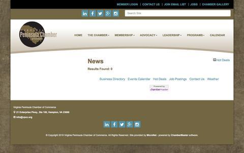 Screenshot of Press Page virginiapeninsulachamber.com - News - Virginia Peninsula Chamber of Commerce,VA - captured Dec. 21, 2016