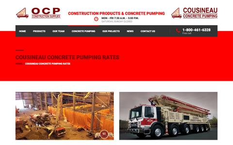 Screenshot of Pricing Page ocp.ca - Cousineau Concrete Pumping Rates | OCP - captured Feb. 26, 2016