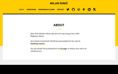 Screenshot of About Page milandinic.com - About | Milan Dinić - captured Sept. 23, 2018