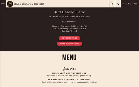 Screenshot of Menu Page baldheadedbistro.com - Menu – Bald Headed Bistro - captured Oct. 31, 2018
