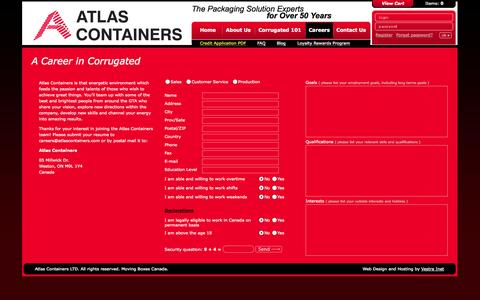 Screenshot of Jobs Page atlascontainers.com - Careers - Custom Corrugated Shipping & Moving Box | Toronto - captured Sept. 30, 2014