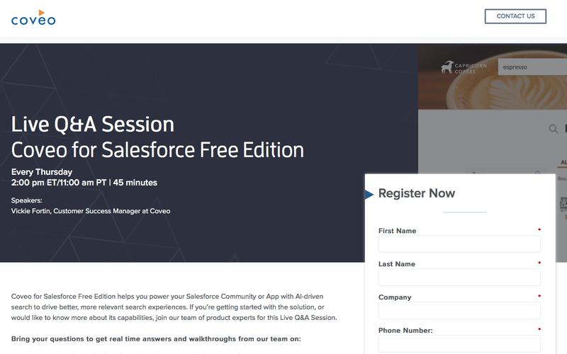 Live Q&A Session Coveo for Salesforce Free Edition