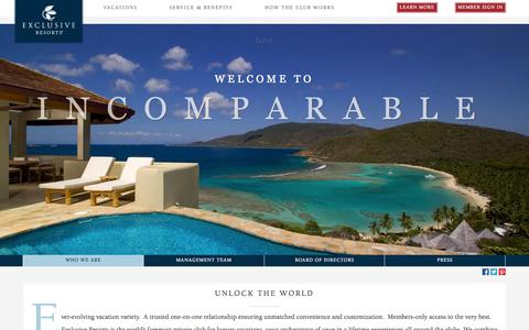 Screenshot of About Page exclusiveresorts.com - About Us | Luxury Travel Service | Exclusive Resorts - captured Sept. 19, 2014