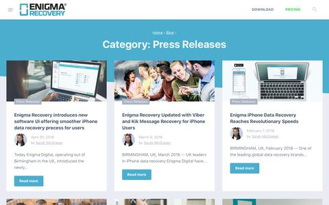 Screenshot of Press Page enigma-recovery.com - Press Releases Archives - - captured July 16, 2018