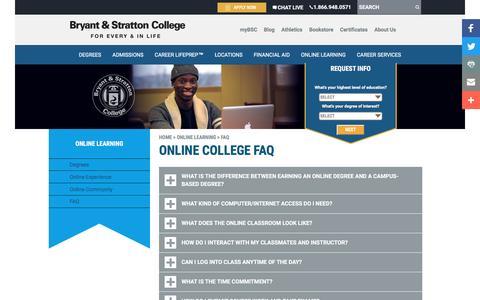 Screenshot of FAQ Page bryantstratton.edu - Online College Information and FAQ | Bryant & Stratton College - captured Sept. 11, 2016