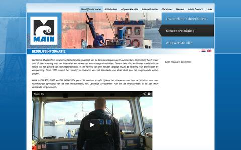 Screenshot of Home Page main-bv.nl - Maritieme Afval Inzameling Nederland (MAIN) B.V.: Bedrijfsinformatie - captured Oct. 3, 2014