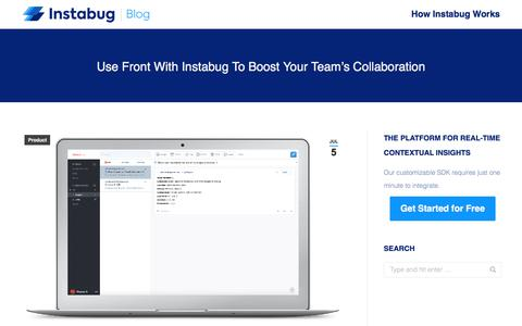 Screenshot of Team Page instabug.com - Use Front With Instabug to Boost Your Team's Collaboration - captured Dec. 3, 2019