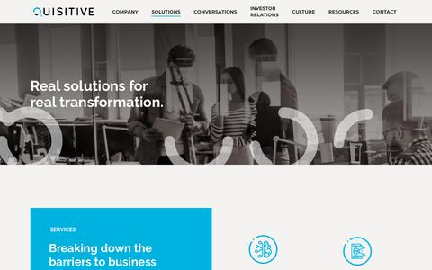 Screenshot of Services Page quisitive.com - Solutions and Strategic Partnerships that Drive Transformation - captured Nov. 2, 2018