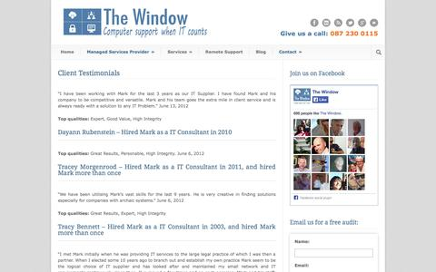 Screenshot of Testimonials Page thewindow.co.za - The Window  Client Testimonials » The Window - captured Sept. 26, 2014