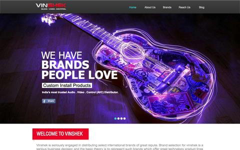 Screenshot of Home Page vinshek.com - Vinshek - India's most trusted Audio . Video . Control Distributor - captured Oct. 9, 2014