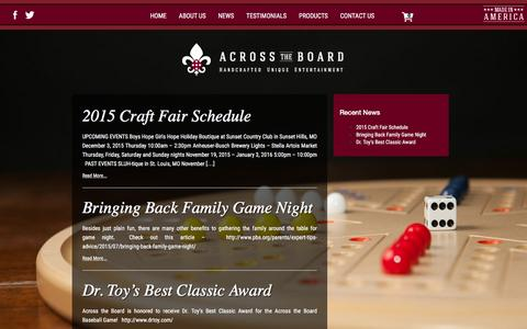 Screenshot of Press Page acrosstheboardgame.com - News - Across the Board - captured Feb. 5, 2016