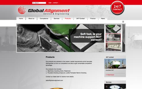 Screenshot of Products Page global-alignment.com - Global Alignment -Products - captured Oct. 2, 2014
