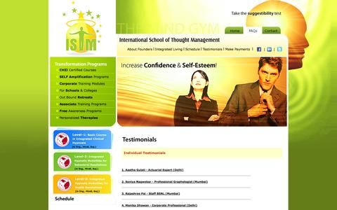 Screenshot of Testimonials Page istm.co.in - International School of Thought Management (ISTM); Corporate Wellness | Corporate Trainer in Mumbai | Self Development Coach | Personality Development Expert| Holistic Stress Management | Meditation | Integrated Clinical Hypnotherapy | Team Building  - captured Oct. 6, 2014