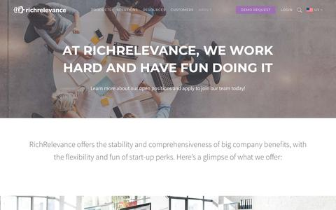 Screenshot of Jobs Page richrelevance.com - Careers at RichRelevance - captured May 11, 2019