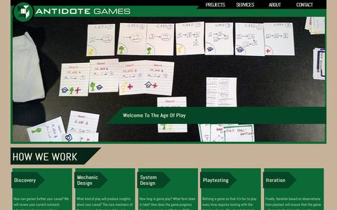 Screenshot of Services Page playistheantidote.com - How We Work Antidote Games - captured Oct. 4, 2014