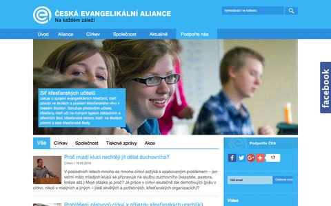 Screenshot of Home Page ea.cz - Česká evangelikální aliance - Site - captured March 18, 2016