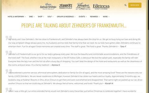 Screenshot of Testimonials Page zehnders.com - Zehnder's of Frankenmuth Testimonials | Frankenmuth, MI | Zehnder's of Frankenmuth - captured Feb. 18, 2019