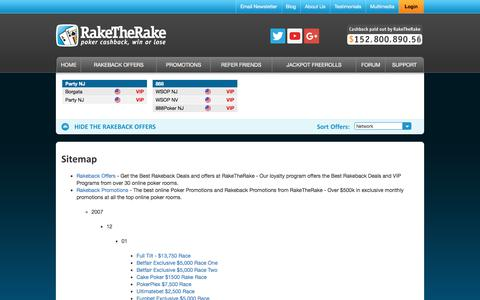 Screenshot of Site Map Page raketherake.com - RakeTheRake - Online Poker Rakeback and Poker Room Cash Back - captured June 19, 2017