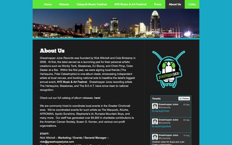 Screenshot of About Page grasshopperjuice.com - About Us | Grasshopper Juice Records - captured Oct. 3, 2014