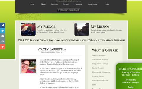 Screenshot of About Page Hours Page barrettmassage.com - About Stacey Barrett RMT in Parry Sound - captured Oct. 23, 2014