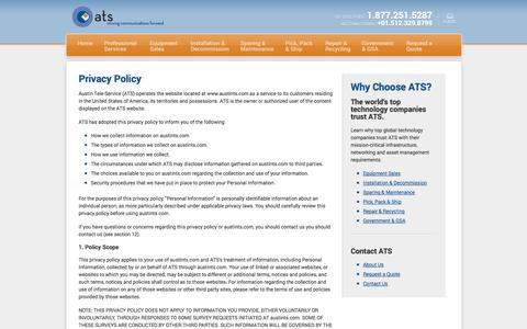 Screenshot of Privacy Page austints.com - Contact ATS | Email or Call 1.877.251.5287 - captured Oct. 5, 2014