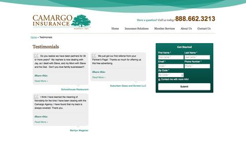 Screenshot of Testimonials Page camargoinsurance.com - Testimonials | Camargo Insurance Agency Inc. of Cincinnati Ohio - captured Oct. 1, 2014