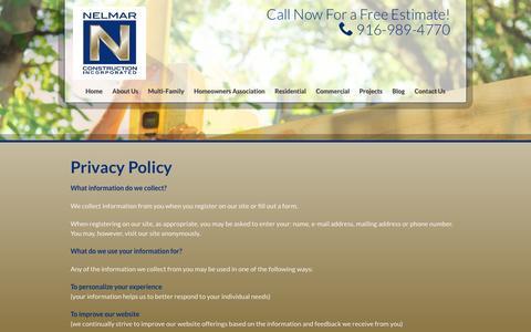 Screenshot of Privacy Page nelmar.net - Privacy Policy | Nelmar Construction, Inc. - captured Nov. 29, 2016