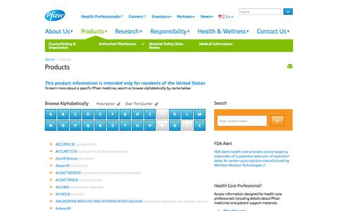 Screenshot of Products Page pfizer.com - Pfizer Products | Pfizer: One of the world's premiere biopharmaceutical companies - captured Sept. 19, 2014