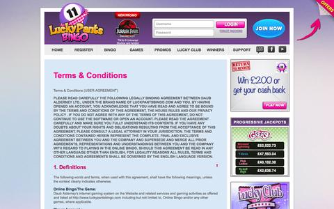 Screenshot of Terms Page luckypantsbingo.com - Terms & Conditions - Lucky Pants Bingo - captured Sept. 30, 2014