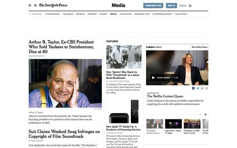 Screenshot of Press Page nytimes.com - Business News - Media and Advertising - The New York Times - captured Dec. 10, 2015
