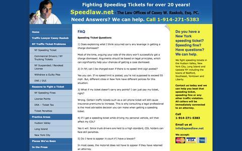 Screenshot of FAQ Page speedlaw.net - FAQ - Speedlaw - captured Dec. 1, 2016