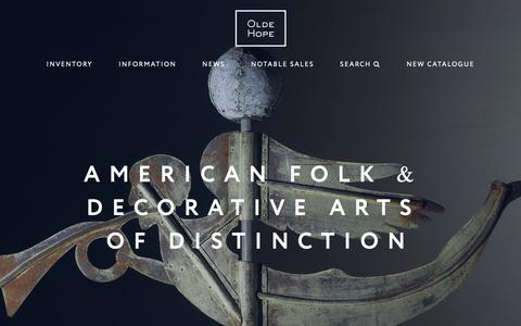 Screenshot of Home Page oldehope.com - Olde Hope Antiques – Specializing in Folk Art and Painted Antiques - captured Oct. 24, 2018