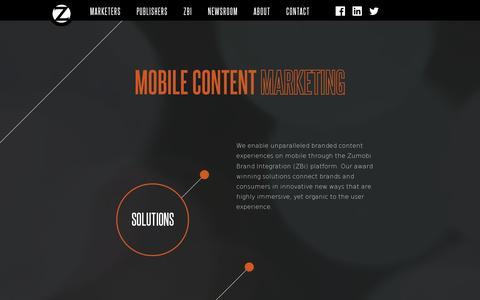 Screenshot of Home Page zumobi.com - Zumobi - captured July 11, 2014