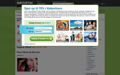 Screenshot of Services Page groupon.dk - Gavekort på Service med Groupon. Bliv medlem nu og få deals med op til 70% rabat! | GROUPON.dk - captured Sept. 23, 2014
