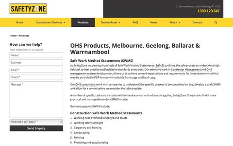 Screenshot of Products Page safetyzone.net.au - Geelong OHS Products | Safety Zone - captured Feb. 17, 2018