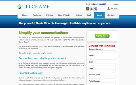 Screenshot of About Page telchamp.ca - TelChamp Canada: Your Cloud-based Voice, Data, e-Commerce Solution - captured Sept. 30, 2014