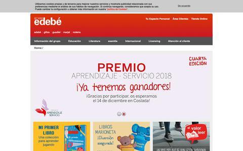 Screenshot of Home Page edebe.com - Grupo Edebé: Libros, Educación, Literatura Infantil y Juvenil, Audiovisuales para niños y jóvenes - captured Dec. 14, 2018