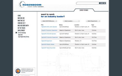 Screenshot of Jobs Page rosenboom.com - Current Openings | Rosenboom Manufacturing - captured Oct. 6, 2014