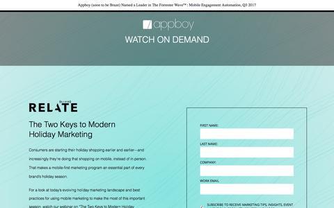 Screenshot of Landing Page appboy.com - Holiday Marketing Webinar   Appboy - captured Nov. 12, 2017