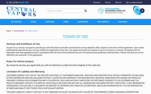 Screenshot of Terms Page centralvapors.com - Terms of Use - Central Vapors - captured March 1, 2017