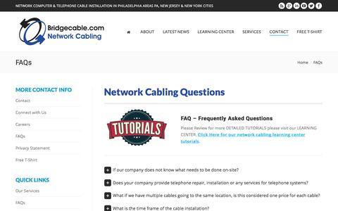 Screenshot of FAQ Page bridgecable.com - FAQs – Bridge Cabling - captured Nov. 23, 2016