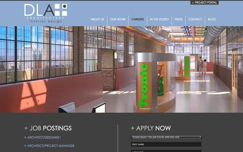 Screenshot of Jobs Page dlaplus.com - Careers | DLA+ Architecture & Interior Design - captured Oct. 5, 2014