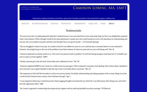 Screenshot of Testimonials Page cameronlorenc.biz - Professional Marriage Counseling. Marriage Counseling Colorado - captured Oct. 7, 2014