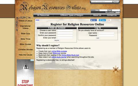Screenshot of Signup Page religionresourcesonline.org - Register - captured Sept. 24, 2018