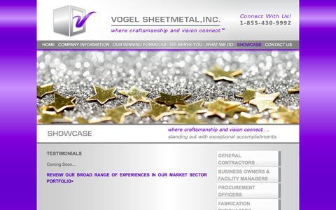 Screenshot of Testimonials Page vogelmetal.com - Vogel Sheetmetal, Inc.  - Commercial HVAC, Industrial Ventilation, HVAC Design/Build Repair & Service, Custom Fabrication - TESTIMONIALS - captured Oct. 7, 2014