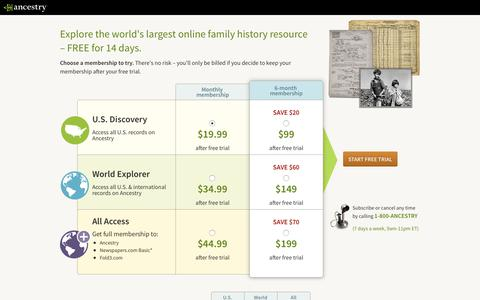 Screenshot of Trial Page ancestry.com - Start your FREE trial at Ancestry - captured Nov. 4, 2017