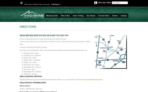 Screenshot of Maps & Directions Page skimadriver.com - DIRECTIONS | SkiMadRiver.com - captured Nov. 18, 2016