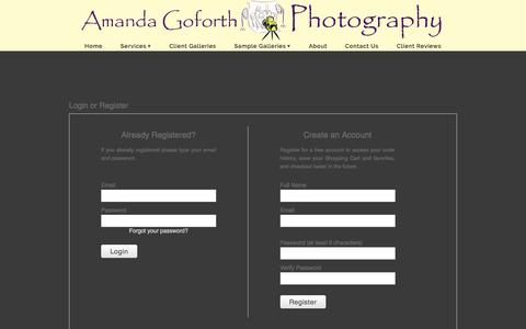 Screenshot of Login Page zenfolio.com - Amanda Goforth Photography, LLC | Login or Register - captured July 25, 2016