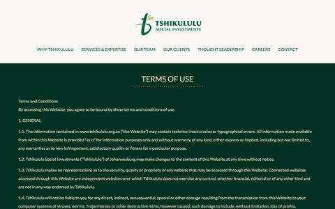 Screenshot of Terms Page tshikululu.org.za - Terms of use - Tshikululu - captured Nov. 2, 2017