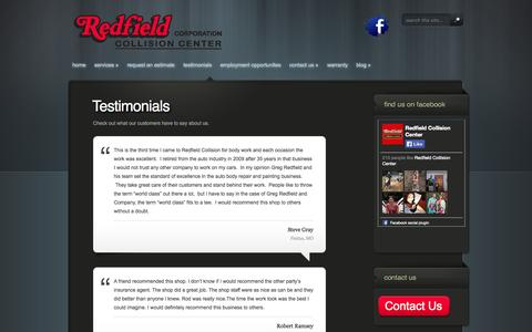 Screenshot of Testimonials Page redfieldcollision.com - Collision Repair Farmington MO | Park Hills MO Auto Body - captured Oct. 7, 2014